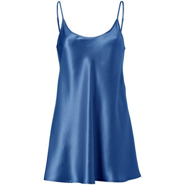 LA PERLA Blue Silk Connyland Cami Dress ($94) ❤ liked on Polyvore featuring dresses, pajamas, lingerie, tops, pijamas, layering cami, la perla, silk camisole, silk cami and blue camisole