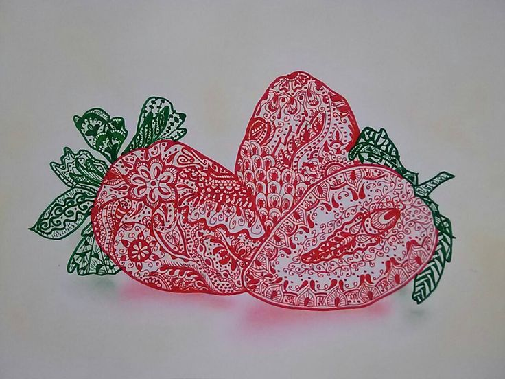 Zentangle strawberry by Tombor Andrea