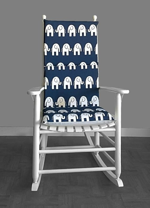 Rocking Chair Cushion Cover Navy Blue Elephant By RockinCushions