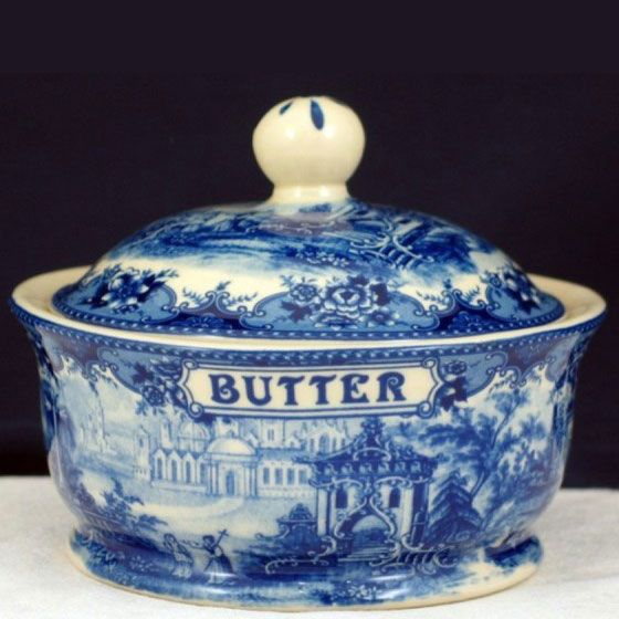 Butter Dish- Blue & White French Vintage Design by Somerton Green
