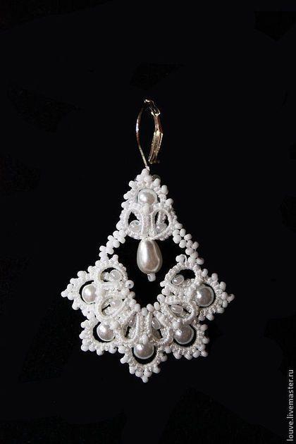 Купить Серьги Свадебные Колокольчики, кружево ручной работы фриволите - белый, свадьба, свадебные украшения