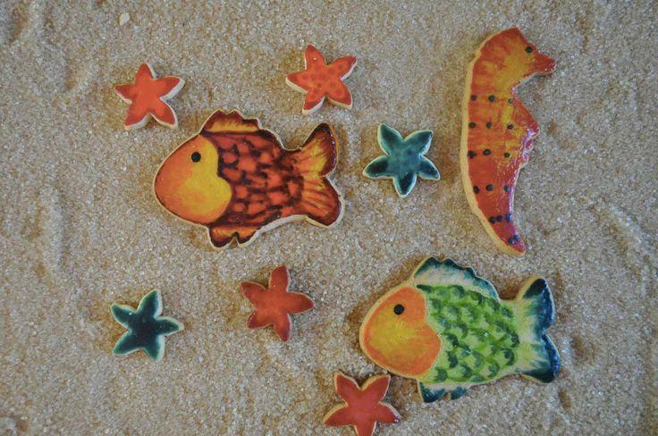 Pesci, Stelle marine e Cavalluccio dipinti con tuorlo d'uovo e Coloranti alimentari