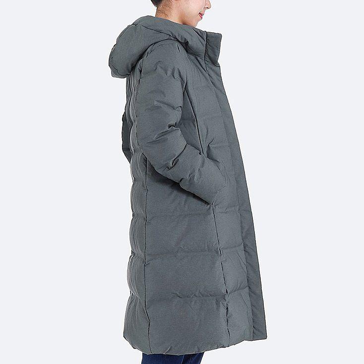 WOMEN SEAMLESS DOWN LONG COAT, BLACK