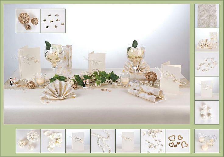 Tischdeko Goldene Hochzeit 9  in Creme/Gold als Mustertisch - Tafeldeko.de