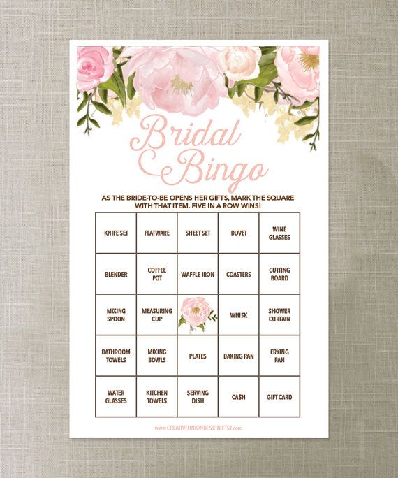 Make this shower amazing - starting with this beautiful game. Ladies of all ages love playing Bridal Bingo! Have your guests mark off the