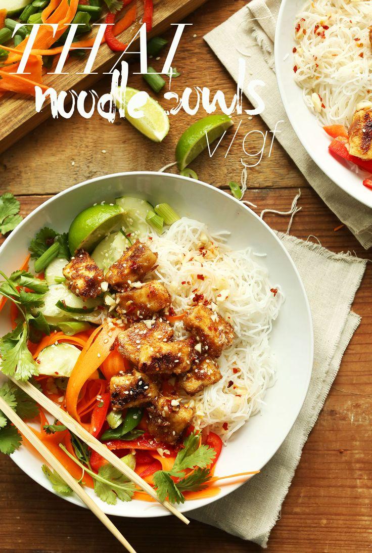30-minute Thai Noodle Bowls with Crispy Almond Butter Tofu! Crisp, fresh, filling! #healthy #vegan #plantbased #recipe #glutenfree #minimalistbaker