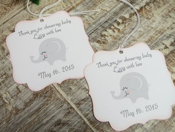 Girl baby shower favor tags Elephant Baby by WildSugarberries
