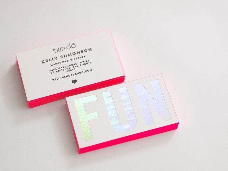 ban.do | Presshaus LA | holographic foil stamp & neon pink edge paint