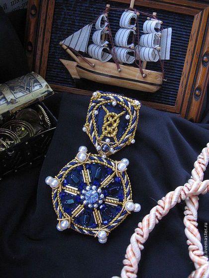 """Купить Брошь-Подвеска """"Владычица Морей"""" - тёмно-синий, морской стиль, морская брошь"""