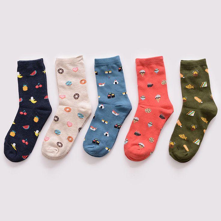 [Cosplacool] invierno nueva corea moda creativa de dibujos animados la vida sushi comida sandía masculinos y femeninos de algodón tubo corto calcetines