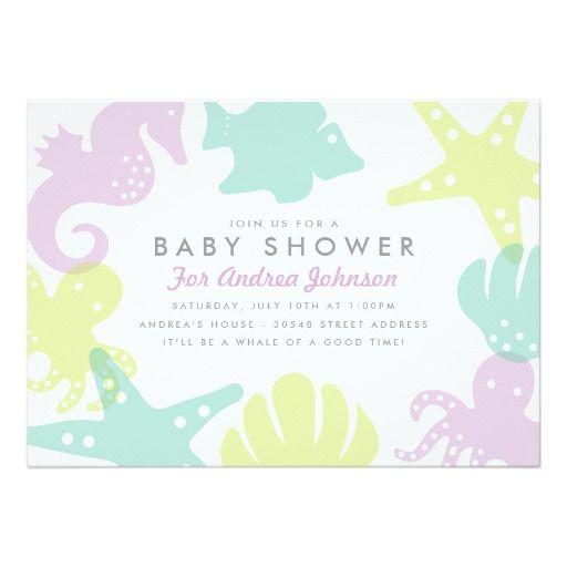 The 930 best ocean baby shower invitations images on pinterest cute ocean critters baby shower invite purple filmwisefo