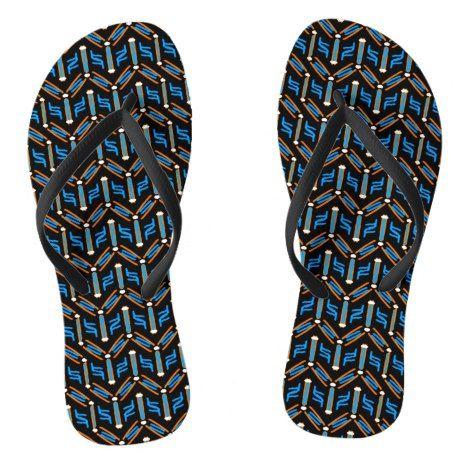 Tribal Style Turquoise Chevron Pattern Flip Flops #chevron #patterned #footwear #fashion