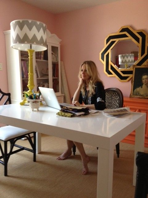 Love this home office space. Those pink walls are wonderful!