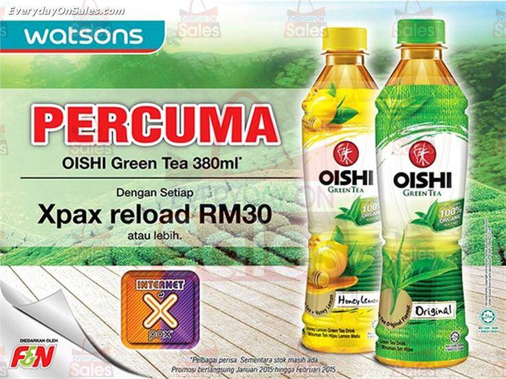 29 Jan-28 Feb 2015: Watsons FREE Bottle of Oishi Green Tea Promotion