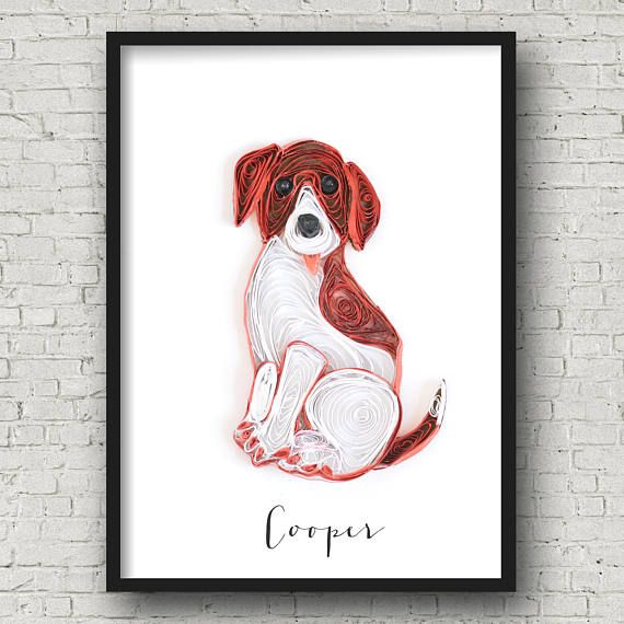 custom dog portrait - personalized dog lover gifts - custom pet portrait - pet loss gift - pet portrait from photograph - pet memorial gifts by ofthingspretty