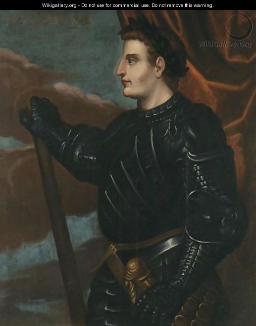 Portrait Of The Emperor Claudius, Three-Quarter Length, Standing In Profile, Wearing Black Armour - (after) Bernardino Campi