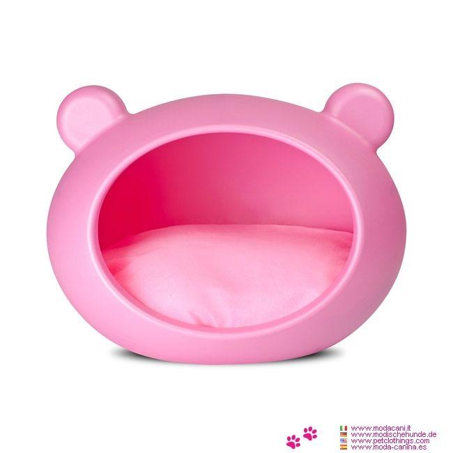 Cuccia chiusa di colore Rosa, con cuscino Rosa sfoderabile, per cani di taglia piccola come chihuahua, barboncino, yorkshire, e cani fino a 7 Kg