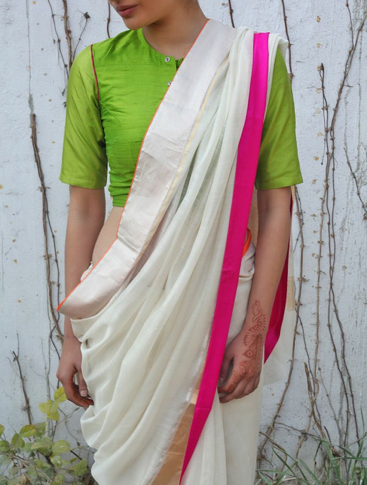 Ivory Chanderi & Zari Marigold Saree