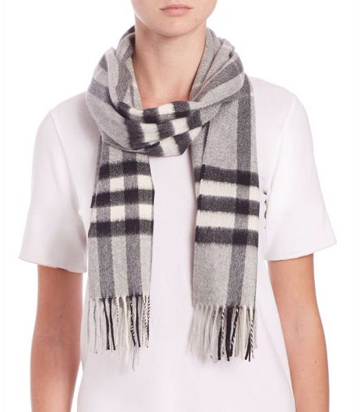 Burberry Pale Grey Giant Check Cashmere Scarf Pale Grey       $75.00
