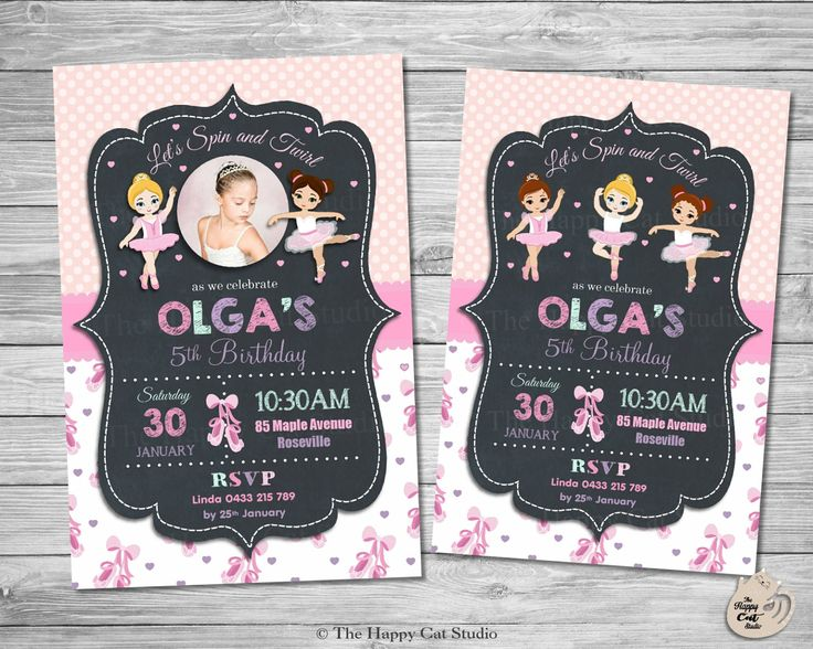 Ballerina Personalized Invitation, Ballet, Tutu, Toe Shoes, Printable, Invites, Digital Print Download, Girls Birthday, Pink, Chic, Photo by thehappycatstudio on Etsy