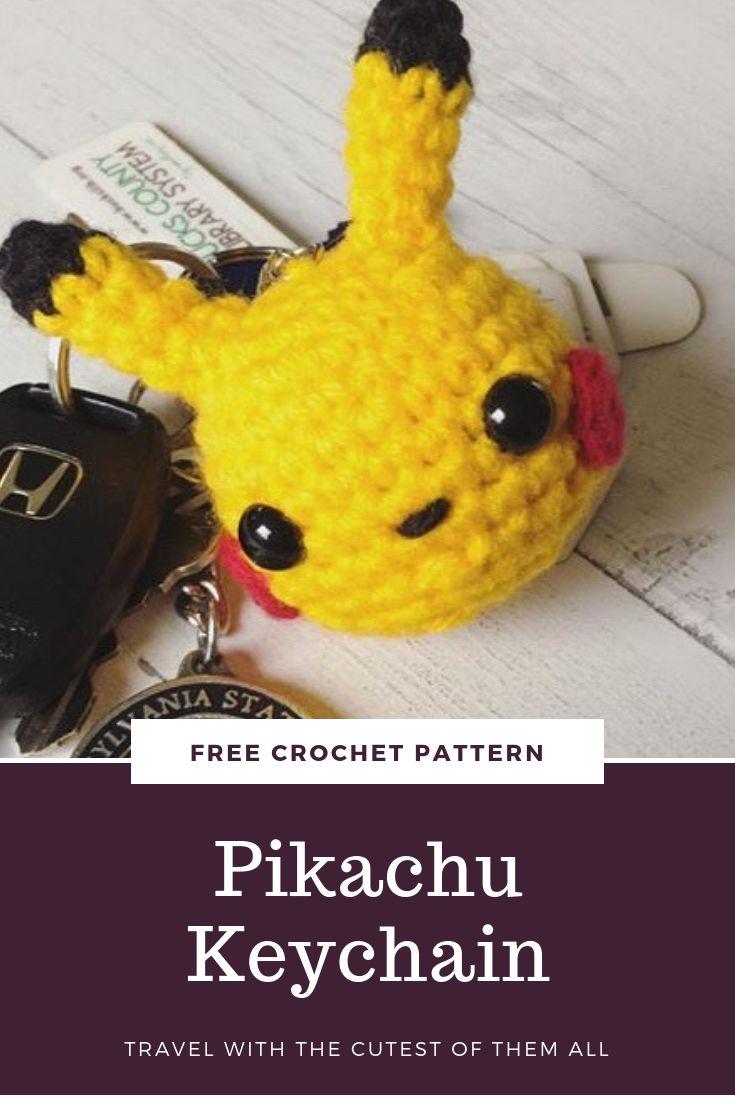 Patrón de ganchillo gratis - Llavero Pikachu