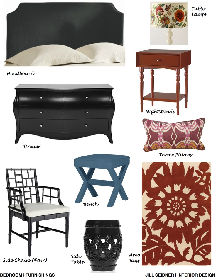 Tarzana CA Online Design Project Bedroom Furnishings Concept Board JSInteriorDesBlogspot