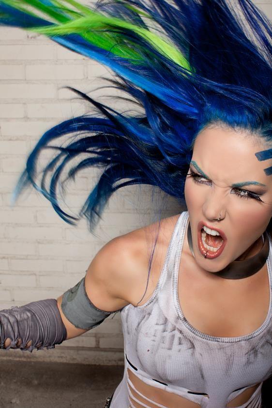 Alissa White-Gluz LOVES Manic Panic® Rockabilly Blue and Electric Lizard hair dye! <3