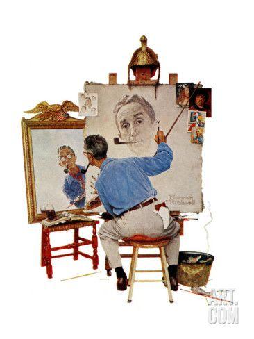 """Art.fr - reproduction procédé giclée '""""Triple Self-Portrait"""", February 13,1960' par Norman Rockwell"""