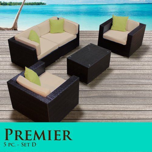 "Premier Modern 5 Piece Outdoor Wicker Patio Sofa Sectional Furniture All Weather Set 05D by TK Classics. $1288.00. ""No Sag"" solid wicker bottoms with extra flexible strapping providing long-lasting suspension. Strong and rust resistant Powder Coated Aluminum Frame for maximum durability. High Density PE (polyethylene) recyclable wicker - NOT made with PVC which is toxic and non-recyclable. Affordable and comfortable Modular Furniture allows for endless arrangement possibilities...."