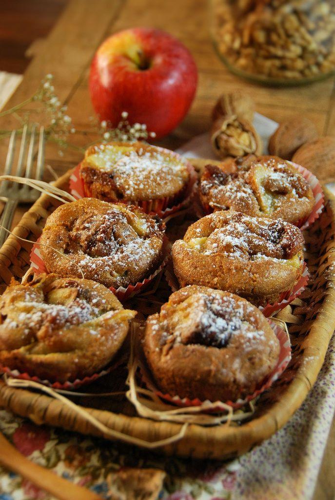 Recette Muffins aux pommes, noix et caramel