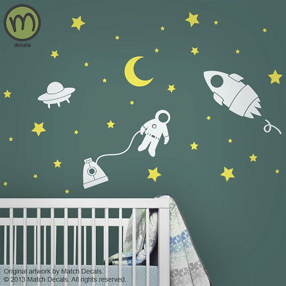 Baby Nursery Wall Decals - Star Wall Stickers - Outer Space w/ Rocket, Astronaut, and UFO - Children's Room - MDA0083C2
