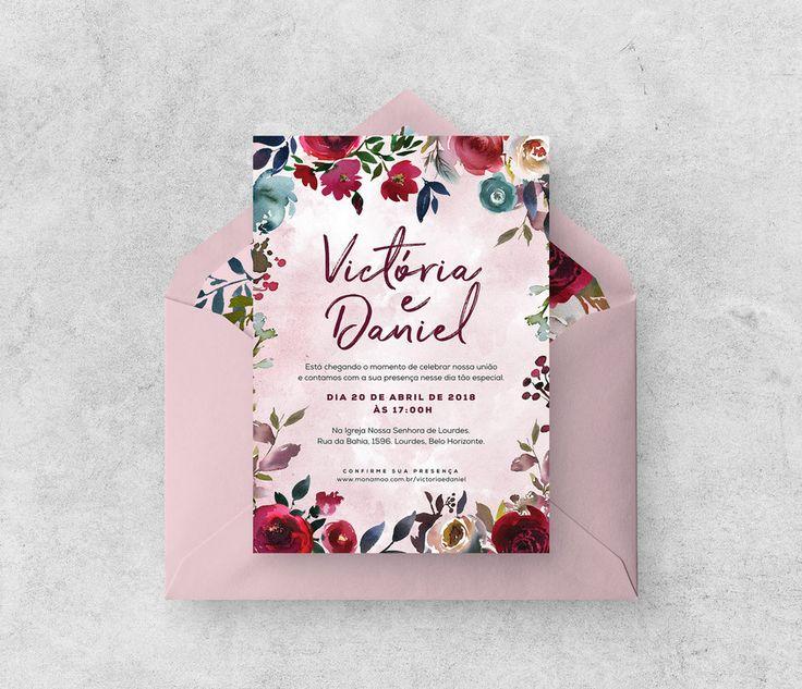 Convite de Casamento DIY Boho Floral. Você compra a arte, nós deixamos do seu jeito e você imprime como e onde quiser com as nossas dicas! ♥ Economia certa!