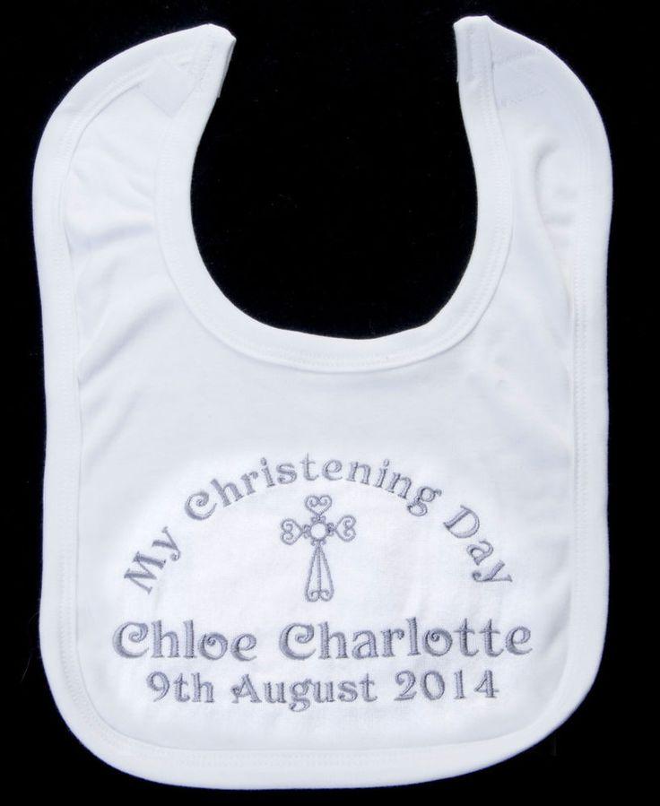 PERSONALISED CHRISTENING BABY BIB NAME AND DATE new baby girl boy gift unisex | eBay