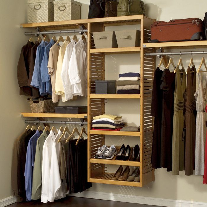 Organize Your Closet Easily With The Solid Wood Honey Maple Finish Of This Deluxe John Louis System Featuring Multiple Configuration Options