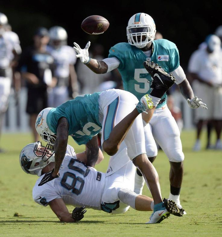 Miami Dolphins' Chris McCain (58) reaches up to grab the loose ball after teammate Louis Delmas (25) jarred the ball from Carolina Panthers' Scott Simonson (80) during a scrimmage at the Carolina Panthers Training Camp at Wofford College in Spartanburg, SC on Wednesday, August 19, 2015.