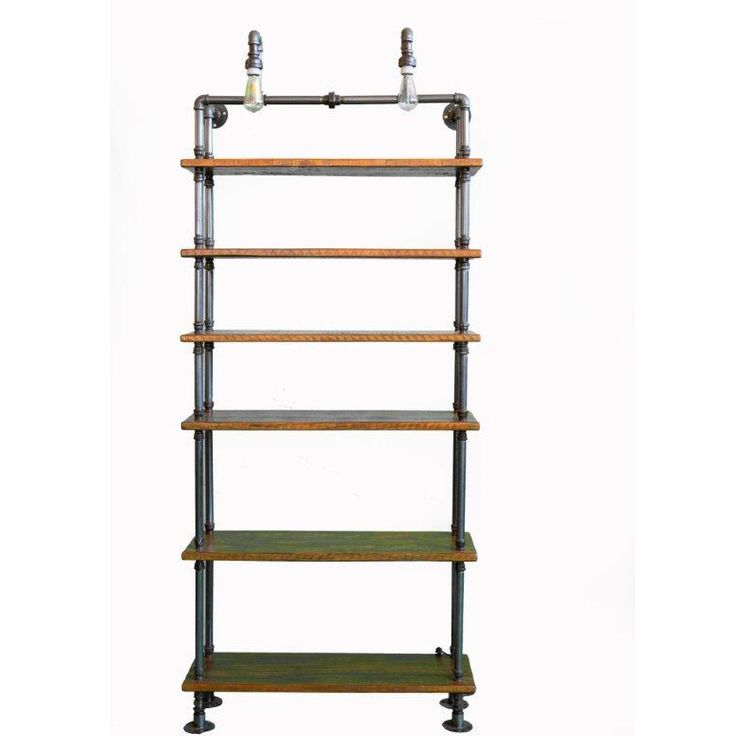 Large industrial steam punk shelving unit with light detail