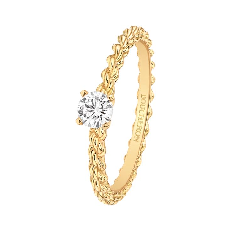 Serpent Bohème solitaire Solitaire set with a round diamond in yellow gold
