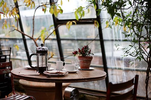french press in a sun-room with a city view.