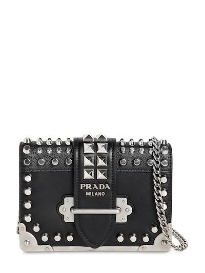 f76372ed4ff7 prada small cahier studded leather bag