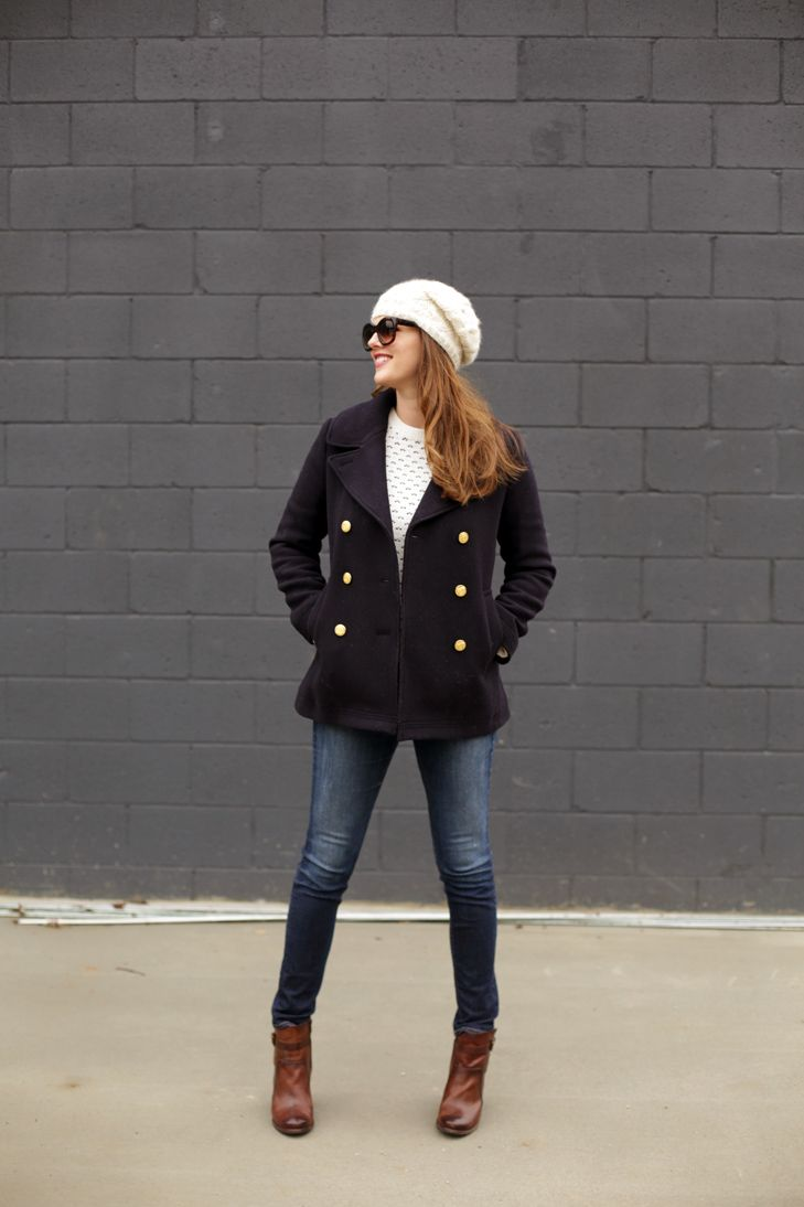 Simple Casual Outfit, Casual, J. Crew peacoat, Frye Boots, Rag + Bone Jeans