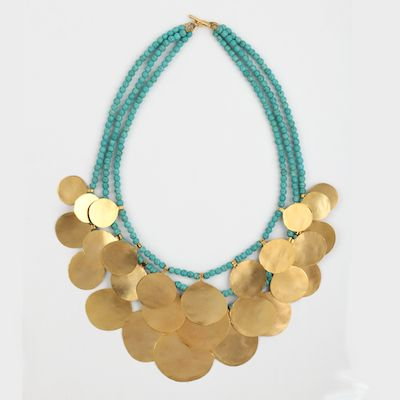Gorgeous statement necklace, brass and turquoise www.cazabrand.com #statementjewelry #brassjewelry