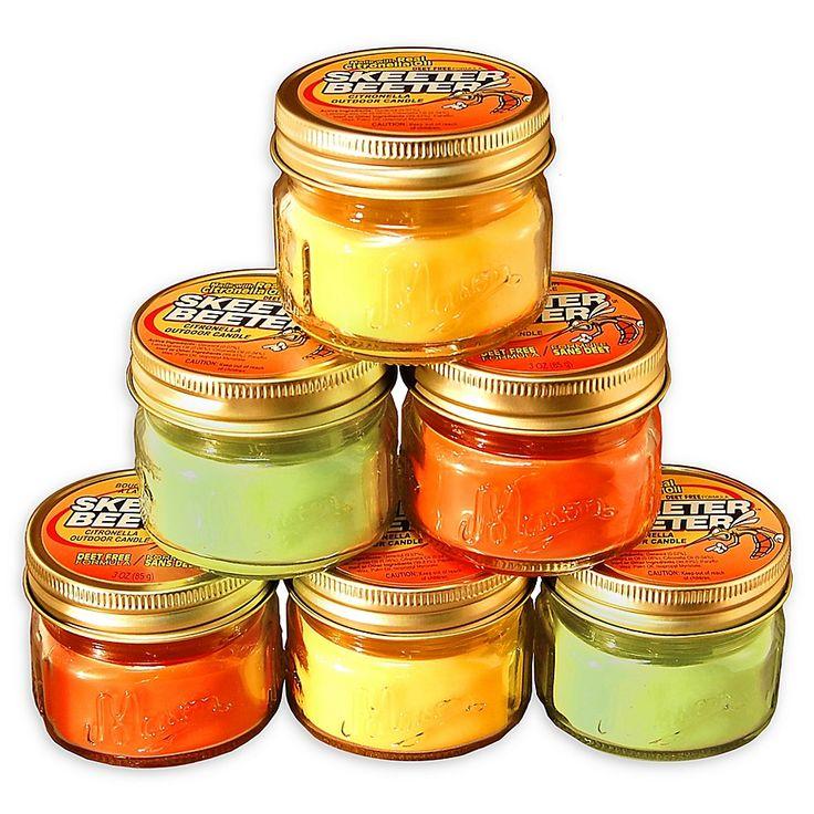 Citronella Scented Candles In 3 Oz Glass Mason Jars (Set