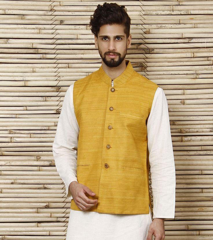 Mustard Linen Nehru Jacket