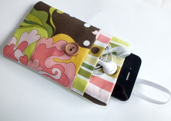 iPhone 5 Floral Sleeve POCKET Cover iPhone 4 by VintageFabricFinds, $16.00