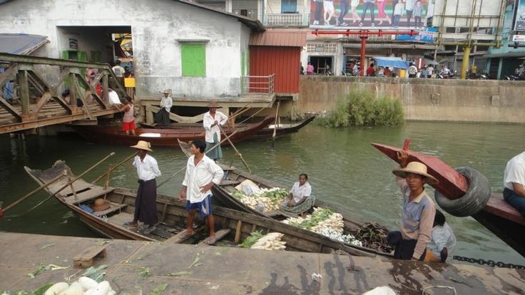 On the water market, Pathein, Myanmar