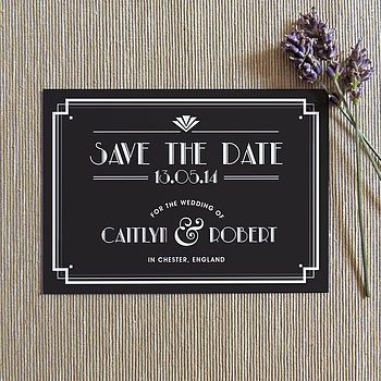 art deco style save the date invitation by project pretty | notonthehighstreet.com