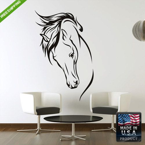 Wall+Decal+Mural+Sticker+Beautyfull+Horse+Head+by+StickersForLife,+$27.99
