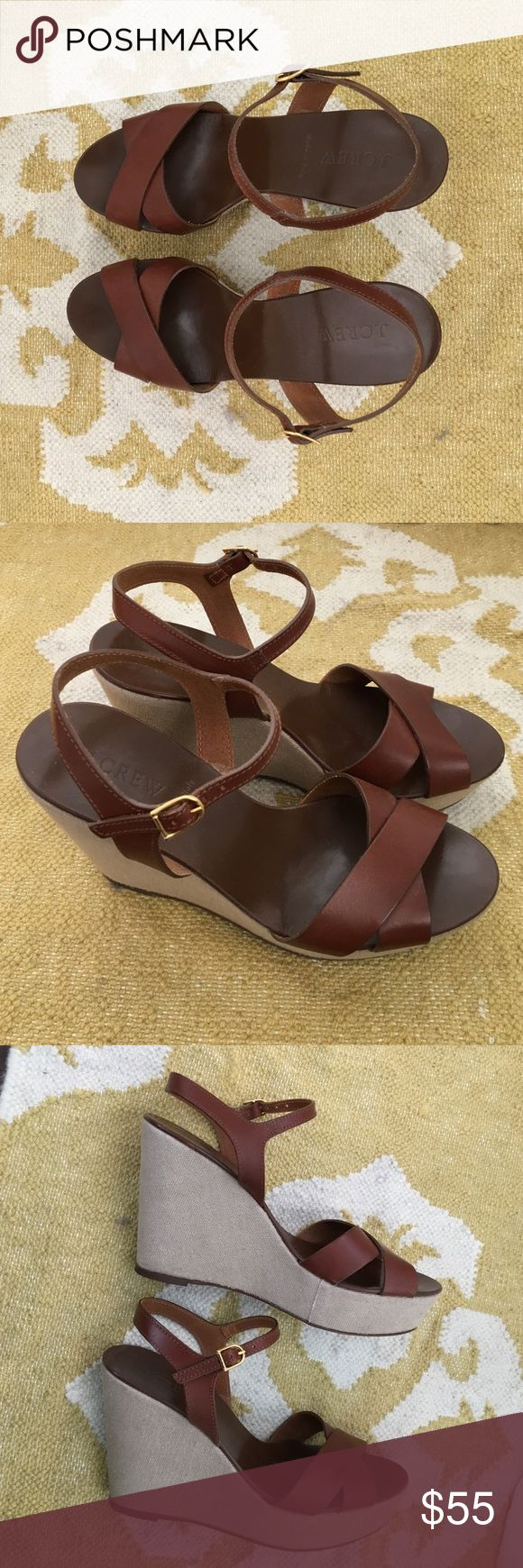 "J. Crew Lila Leather Platform Wedge Shoes Brown leather platform wedges from J. Crew. These shoes were previously worn, but very few times. The shoes have an adjustable ankle strap and are 4"" tall with a 1.5"" platform at the toe.  Made in Italy. Size 8. J. Crew Shoes Wedges"