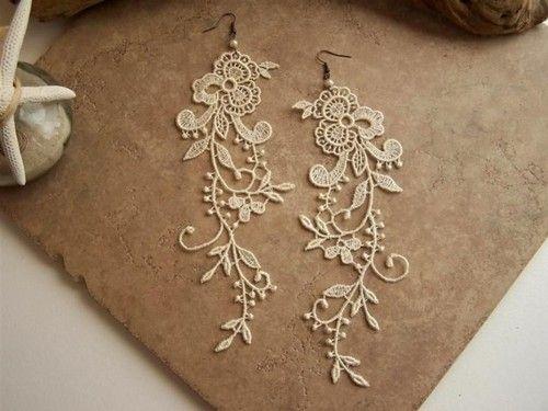 Earrings: Jewelry Make, Make Earrings, Drop Earrings, Lace Earrings, Floral Earrings, So Pretty, Crafts Idea, Diy'S Earrings, Crochet Earrings