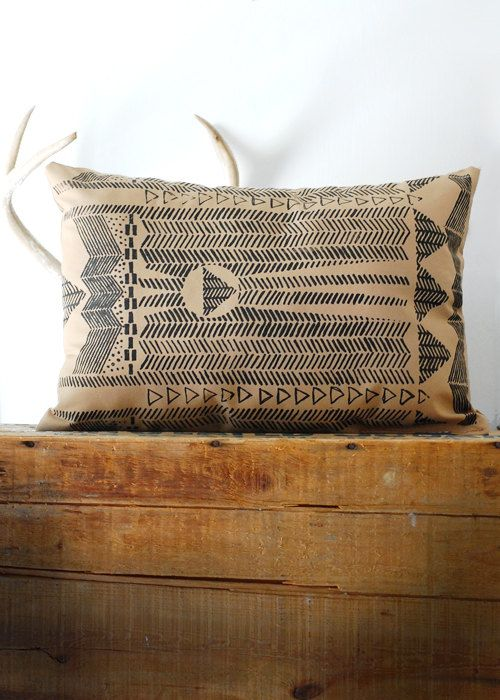 Going Hunting -  Black and Cornstalk - COVER ONLY - Modern Hand Printed Pillow Cover - by Bark Decor